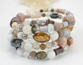Summer silk memory wire bracelet one size fits all wide cuff gemstone glass shell wrap bracelet neutral earthtones brown white amber grey