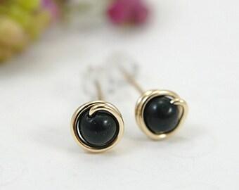 Tiny black onyx post earrings 14k gold filled wire wrapped black stud earrings black gemstone earrings small earrings second piercings 5mm