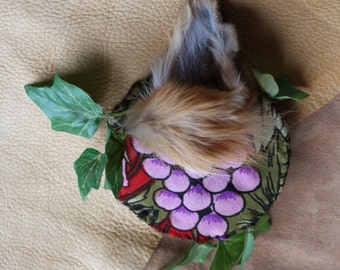 The Fox and the Grapes - handmade fur and deerskin fascinator headpiece with vintage fabric and leaves