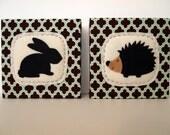 Rabbit and Hedgehog Woodland Art Block Set