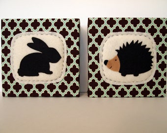Rabbit and Hedgehog Woodland Art Block Set