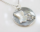 Louisiana State Rustic Disk Necklace - Hand Made from Fine Silver on a Sterling Chain - Made to Order