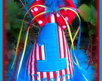 Circus, Carnival,  First Birthday Hat, Personalized, Boy or Girl, You Choose Colors,    by GINGHAM BUNNY
