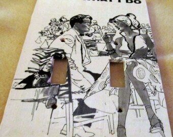 vintage men's magazine WHAT I DO  dual light switch plate