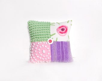 Chenille Pillow - Pink Lavender Green Vintage Chenille Handmade Charm Pillow