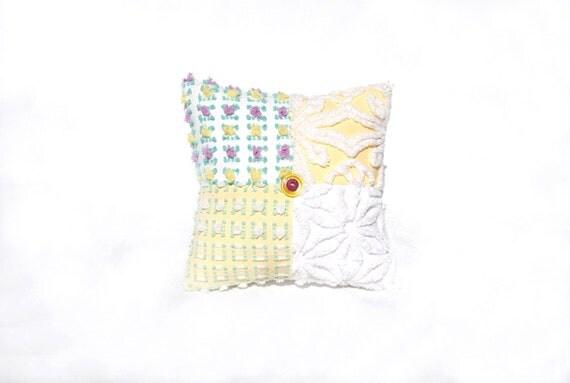 Chenille Pillow - Felicity Rose - Lavender Yellow Rosebud Vintage Chenille Handmade Charm Pillow