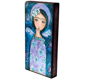 Frida in Heaven -  Giclee print mounted on Wood (3 x 6inches) Folk Art  by FLOR LARIOS