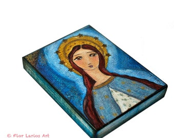 Immaculate Conception -  Giclee print mounted on Wood (4 x 5 inches) Folk Art  by FLOR LARIOS