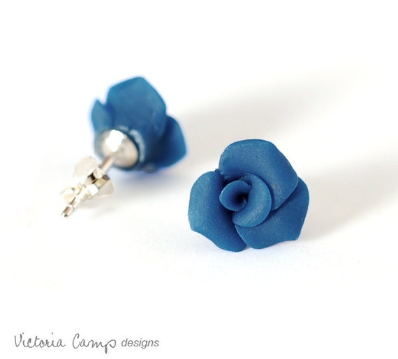 Small Blue Rose Earrings, Sterling Silver, Posts, Handformed Clay Roses, Crimson, Tiny, Petite, Flower - Ready to Ship