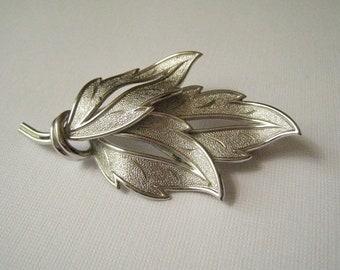 Vintage Silvertone Leaves Brooch by Coro