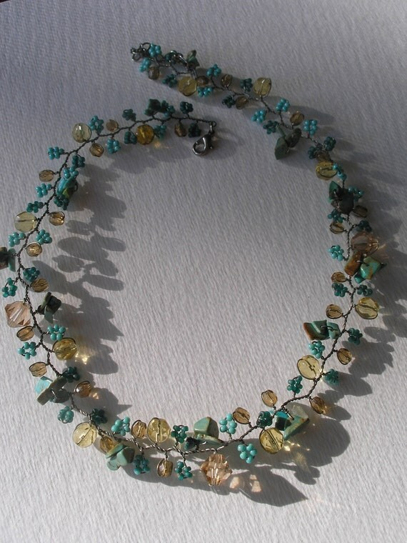 Vintage Turquoise Citrine Glass Garden Grape Flower Laurel Wire Wrapped Necklace