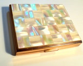 Glamorous 1950s Swiss Volupte Mother of Pearl Duo Powder/Lipstick Compact, Art Deco, Tiled, Oblong