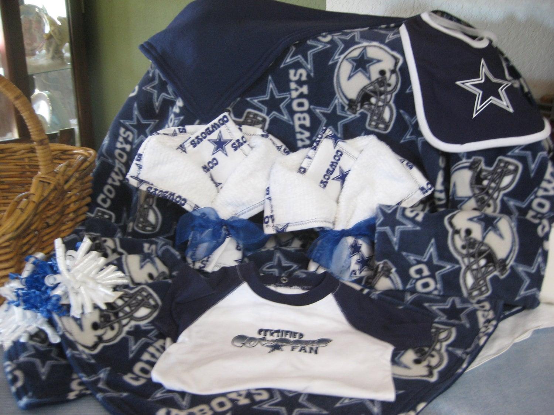 Dallas Cowboy Baby Gift Basket Blanket Burping Cloth
