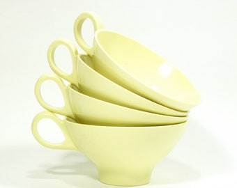 vintage Boontonware Melmac teacups . great buttercream color . mid century modern atomic design