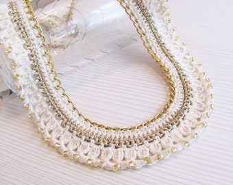 Off white gold crocheted collar chain necklace gold glass seed beads