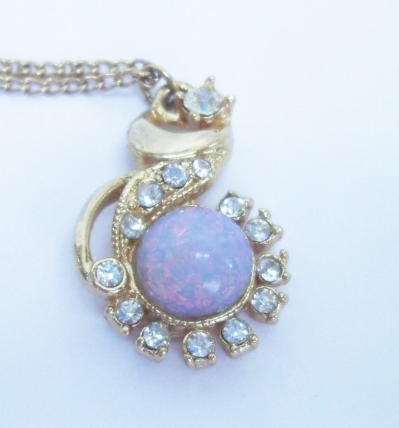 Vintage Necklace: Victorian Style Fire Opal and Rhinestones Pendant