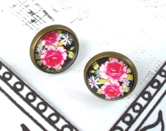 Rose Earrings, Flower Earrings, Pink Flower Earrings, Cabochon Earrings, Vintage Earrings, Antique Bronze Earrings
