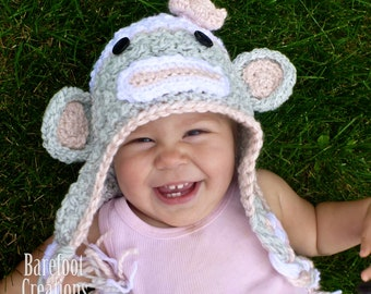 Girly Crochet Sock Monkey Hat - Newborn, Baby, Toddler, Adult