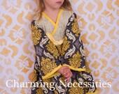 Yellow and Gray Girls Kimono Dress in Chichi