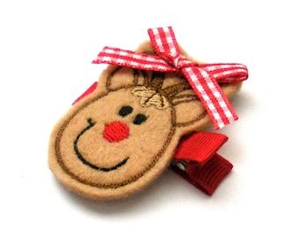 Rudolf The Red Nose Reindeer Embroidered Felt Child Hair clip