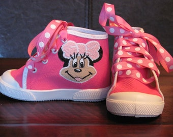 Hand painted Minnie Mouse pink high top shoes