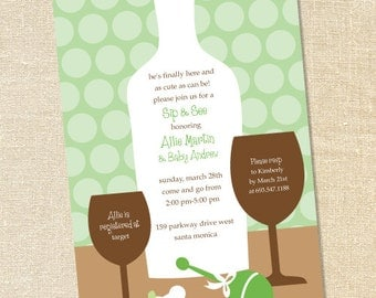 Sweet Wishes' Sip and See Baby Shower Invitations Wine - PRINTED - Digital File Also Available