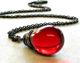 Red Pendant Necklace Red Glass Teardrop Necklace Wire Wrapped Jewelry Holiday Jewelry Gifts for Her