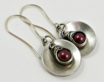 Disc Earrings Sterling Silver Dangle Earrings Wine Pearl Earrings Gifts for Her Under 30