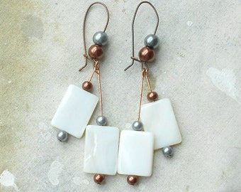 Long Mod Dangles -  White Rectangles Copper and Silver Grey Pearls