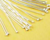 Ball Headpins 100 Ball Pins Shiny Platinum Silver 2.75 inch (70mm) 21 gauge (1032pin70s1)