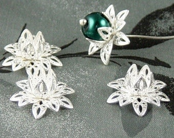 Silver Bead Cap 10 Vintage Bright Shiny Silver Flower 3 Tiered Layer Filigree Bendable 16mm (1087cap16s1)xz