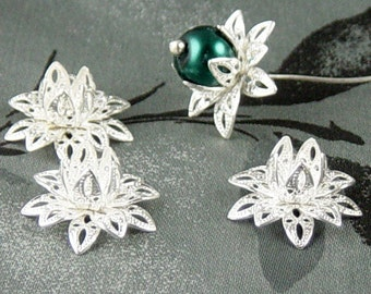 REDUCED Silver Bead Cap 10 Vintage Bright Shiny Silver Flower 3 Tiered Layer Filigree Bendable 16mm (1087cap16s1)xz