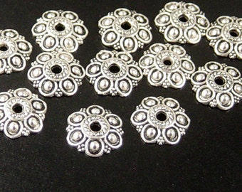 REDUCED Silver Bead Cap 50 Antique Silver Flower Victorian 6 point 14mm NF (1106cap14s1)
