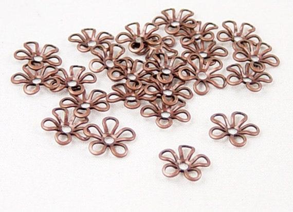 Copper Bead Cap 100 Antique Copper Flower Victorian 5-Petal 9mm (1081cap09c1) ... last remaining packages