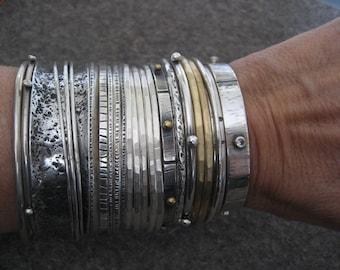 White Hot Silver Sterling Silver Bangle Bracelet
