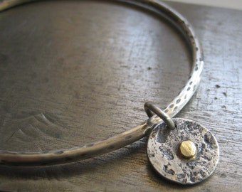 Bindu Bracelet....Sterling Silver Bangle with Sterling and Gold Bindu Tag