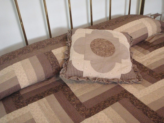 Tan & Brown Queen Size Quilt REDUCED