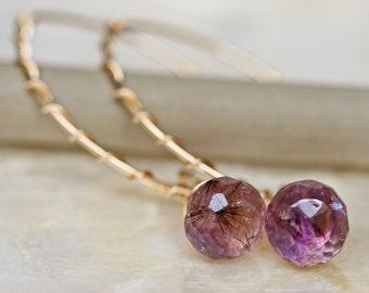 Amethyst Earrings - Moss Amethyst Earrings - Gold and Amethyst Earrings
