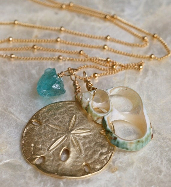 Ocean Jewelry - Raw Stone Necklace - Sand Dollar Necklace - Beach Jewelry - Natural Jewelry