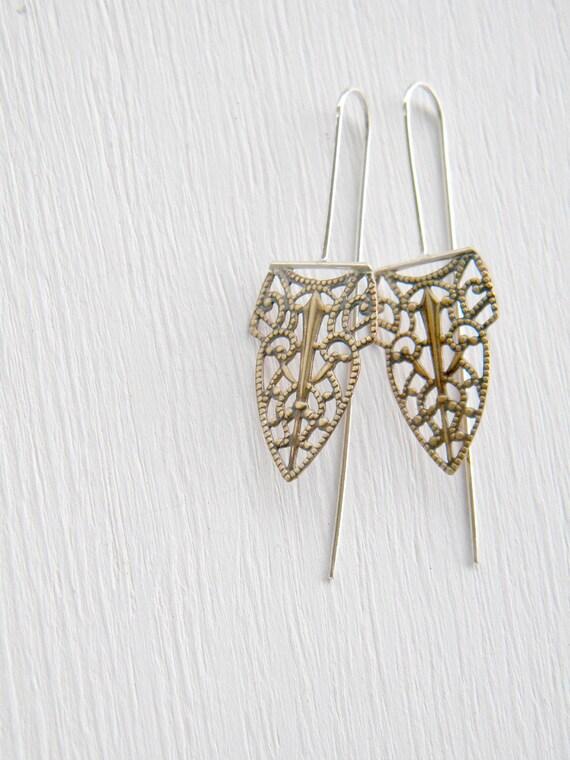 Arrows and Feathers - Filigree Chandelier -  vintage brass, sterling silver dangle earrings