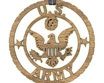 Wood U.S. Army Military Ornament.