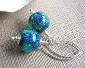 Teal Green Blue Artisan Lampwork Glass Bead Earrings, Sterling Silver - NEPTUNE'S KINGDOM
