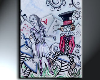 Alice Mad Hatter Painting On Canvas Original Artwork 18 x 24 Character Art Illustrative Art