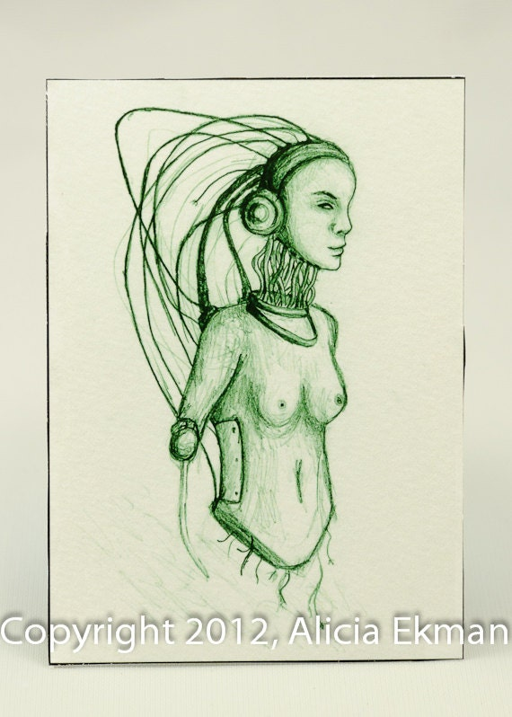 ACEO Wired, Original Artwork Print