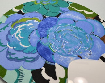 Buy 2 FREE SHIPPING Special!!   Mouse Pad, Round Fabric Mouse Pad or Trivet      Roses in Royal and Teal