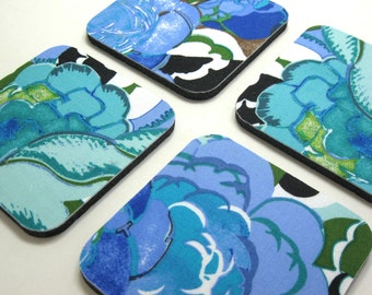 Coasters, Fabric Coasters    Roses in Royal and Teal