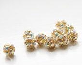 4pcs Czech Gold Tone Base Metal  Rhinestone Balls - Crystal AB 8mm (1090)