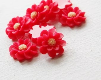 6pcs Acrylic Flower Cameo Cabochons- Red 18mm (27F6)