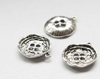 6pcs Oxidized Silver Tone Base Metal Charms-Button 25x22mm (11090Z-O-16A)