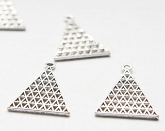 12pcs Oxidized Silver Base Metal Pendant - Triangle - Geometry 21.5x28mm (26515Y-O-147A)